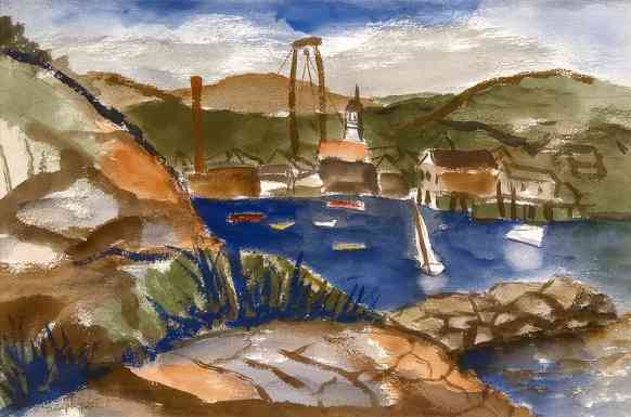 Granite Pier, watercolor, 22 x 30, 1935