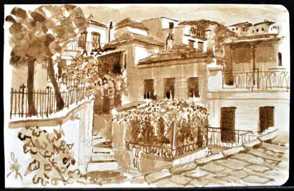 "Skopelos Streetscape, Greece, Ink Wash, 8""x5"""