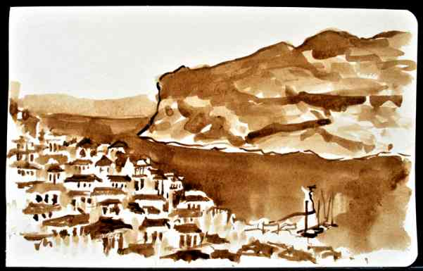 "Skopelos Harbor, Greece, Ink Wash, 8""x5"""