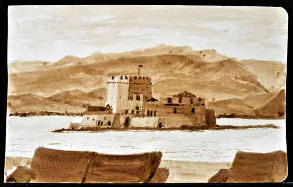 "Nafplion Harbor, Greece, Ink Wash, 8""x5"""