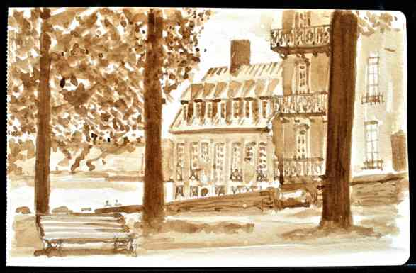 "Quebec City Park, Canada, Ink Wash, 8""x5"""