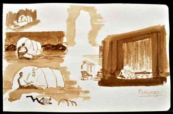 "Ice Breaker Scenic Design Study 2, Ink Wash, 8""x5"""