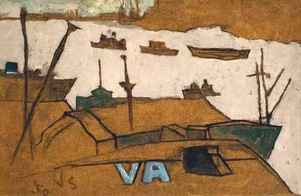 Gloucester Harbor, oil on board, 20 x 30, 1950