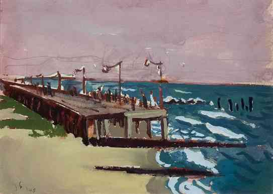 Boardwalk, Jamaica, Long Island, gouache, 11 x 14, 1934