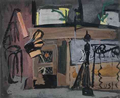 Tinsmith Shop, Gouache on black paper, 12 x 14, 1938