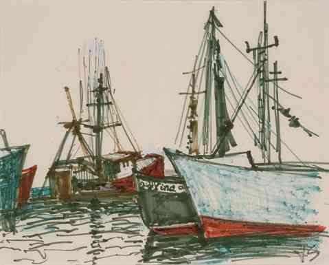 Gloucester Harbor, drawing, 9 x 12, 1978