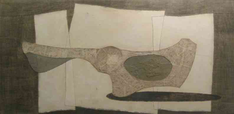 Guitar, collage, 34 x 72, 1958