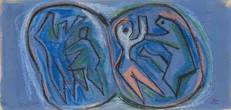 Soccer, chalk on board, 8 x 16, 1937
