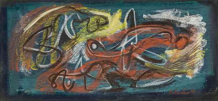 Amorphous Color Abstraction	, chalk on board, 8 x 17, 1944